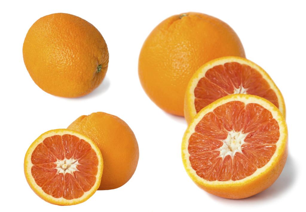 Set of Red orange fruit isolated on white
