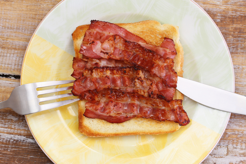 Grease on a plate of bacon.