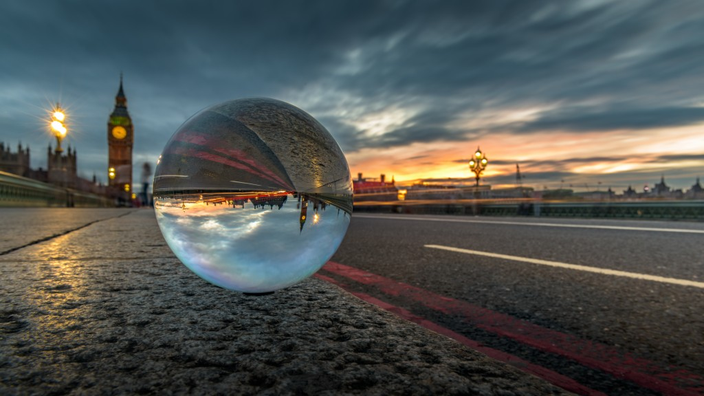Big Ben and Westminster Bridge, seen with a crystal ball